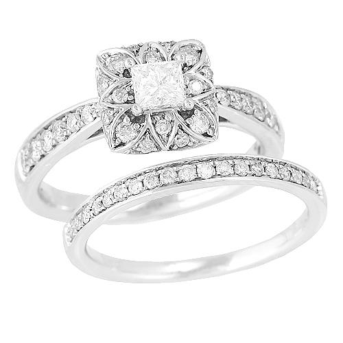 14K White Gold 1.00ct Princess Cut Diamond Bridal Set