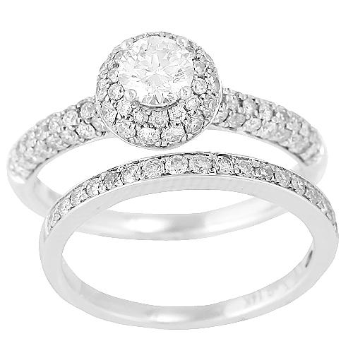 14K White Gold 1.25ctw Round Cut Diamond Double Halo Bridal Set