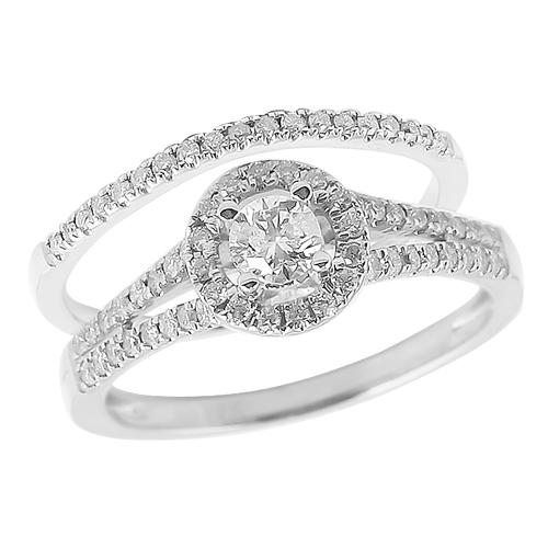 14K White Gold 0.65ctw Diamond Bridal Set