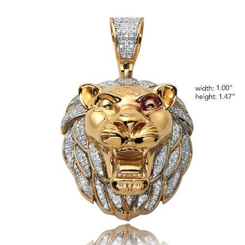 10KY 0.50ctw Diamond Lion Head Pendant - Moijey Fine Jewelry and Diamonds