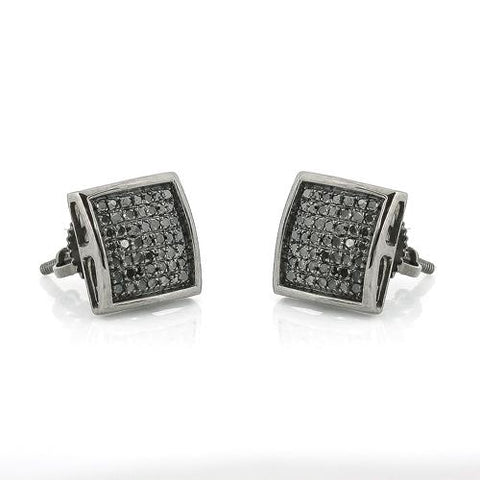 10K Black Gold 0.33ctw Black Diamond Dome Earrings - Moijey Fine Jewelry and Diamonds