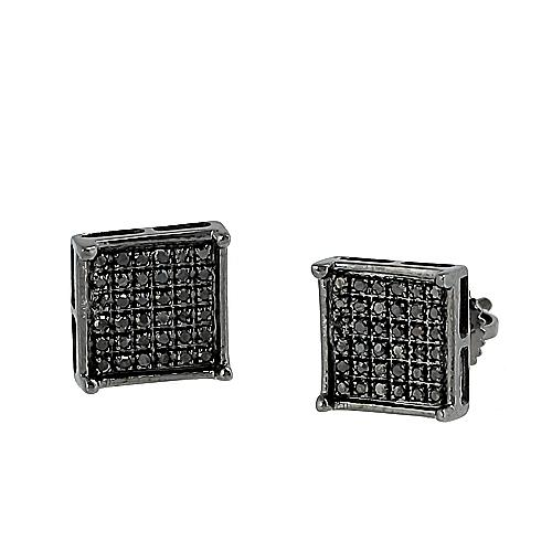 10KB 0.25ctw Black Diamond Square Prong Earrings - Moijey Fine Jewelry and Diamonds