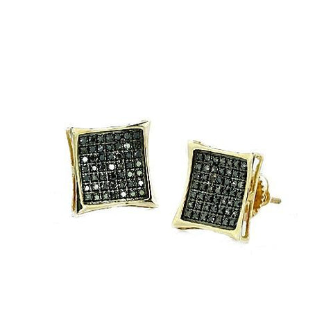 10K Black Gold 0.50ctw Black Diamond Kite Shape Earrings - Moijey Fine Jewelry and Diamonds