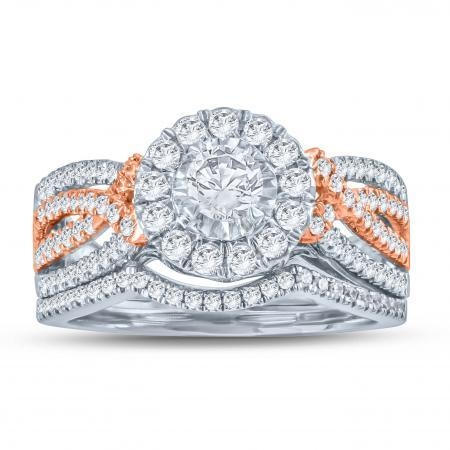Rose Gold and White Gold Diamond Halo Engagement Set - Moijey Fine Jewelry and Diamonds