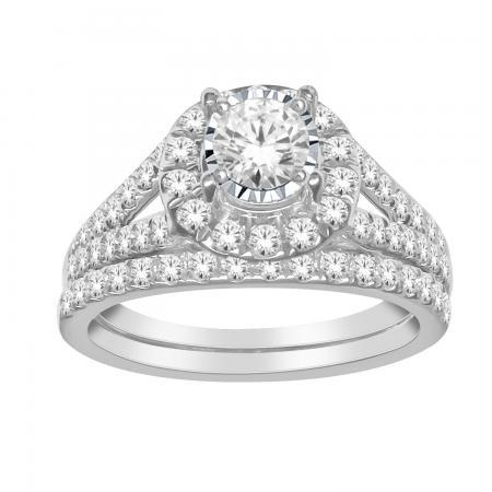 1.00-ctw. Classic Diamond Halo Engagement Set - Moijey Fine Jewelry and Diamonds