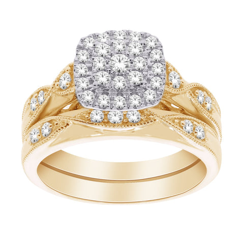 10K Gold Elegant Double Halo Diamond Engagement Set - Moijey Fine Jewelry and Diamonds