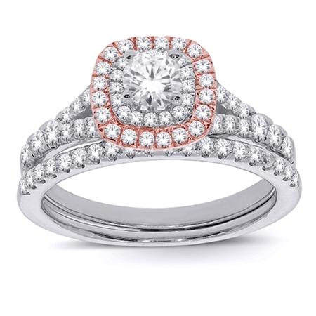Double Halo 1-Ctw Bridal Set - Moijey Fine Jewelry and Diamonds