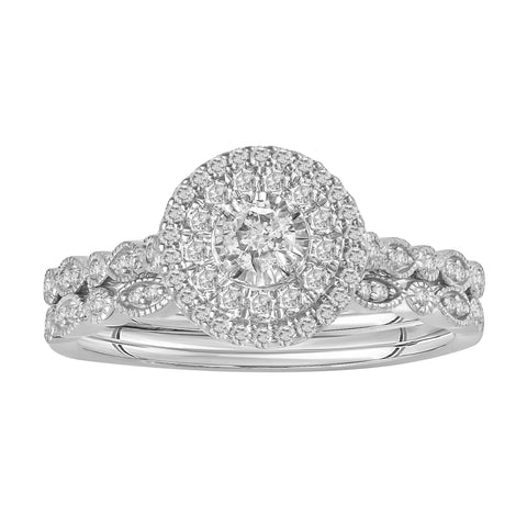 Double-Halo Vintage-Inspired Cluster Engagement Ring Set - Moijey Fine Jewelry and Diamonds