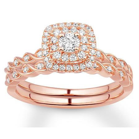 14K Rose Gold Delightfully Twisted Diamond Halo Engagement Set - Moijey Fine Jewelry and Diamonds