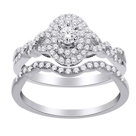 14K White Gold Shimmering Diamond Oval Halo Engagement Set