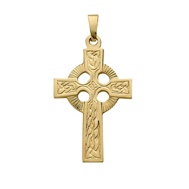 14K Small and Fancy Celtic Cross Pendant