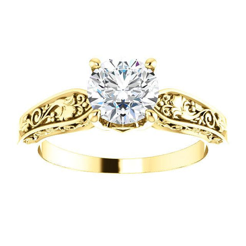 14K Yellow 6.5mm Round Floral-Inspired Solitaire Engagement Ring Mounting - Moijey Fine Jewelry and Diamonds