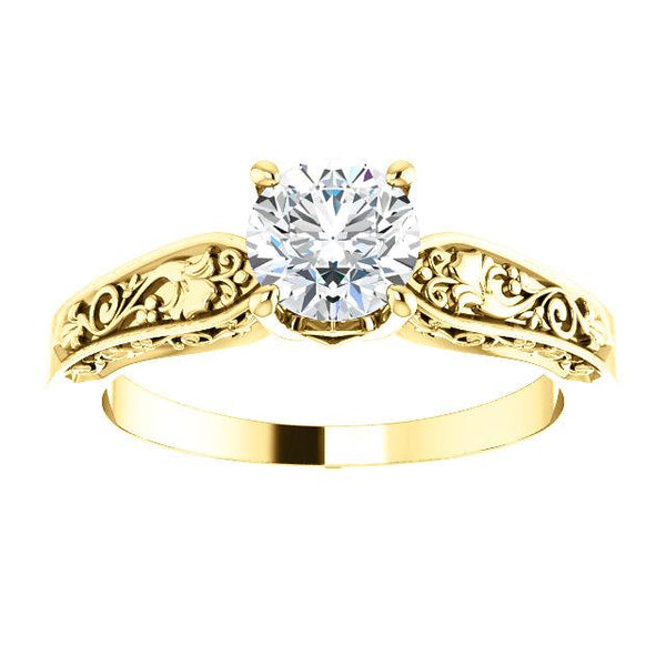 14K Yellow 5.8mm Round Floral-Inspired Solitaire Engagement Ring Mounting - Moijey Fine Jewelry and Diamonds