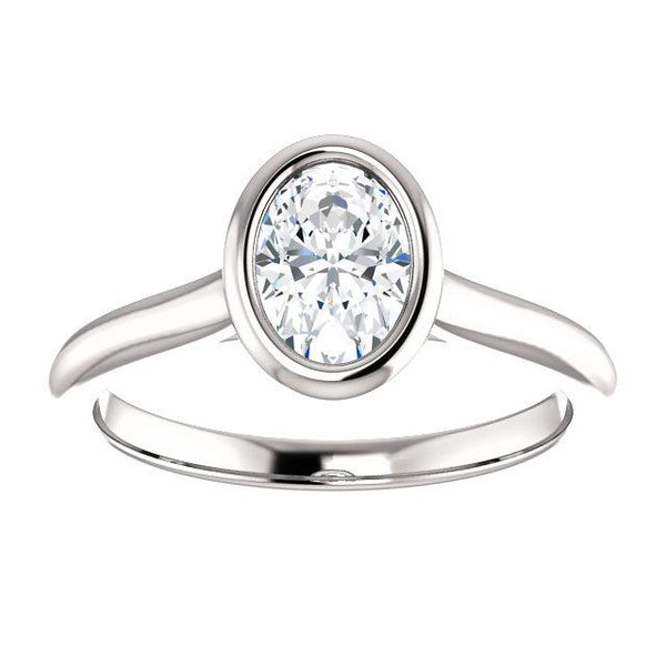 14K White 7x5mm Oval Engagement Ring Mounting - Moijey Fine Jewelry and Diamonds