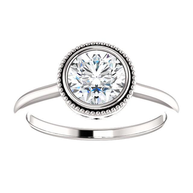 Milgrain Bezel Round Engagement Ring Mounting