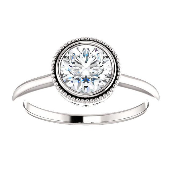 Milgrain Bezel Round Engagement Ring Mounting - Moijey Fine Jewelry and Diamonds
