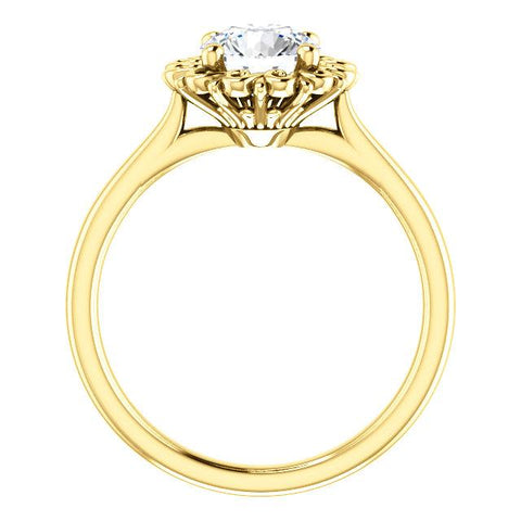 14K Yellow 6.5mm Round Solitaire Engagement Ring Mounting - Moijey Fine Jewelry and Diamonds