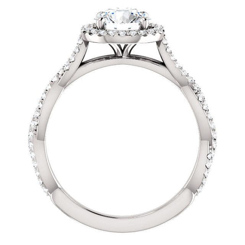 14K White 6.5mm Round Engagement Ring Mounting - Moijey Fine Jewelry and Diamonds