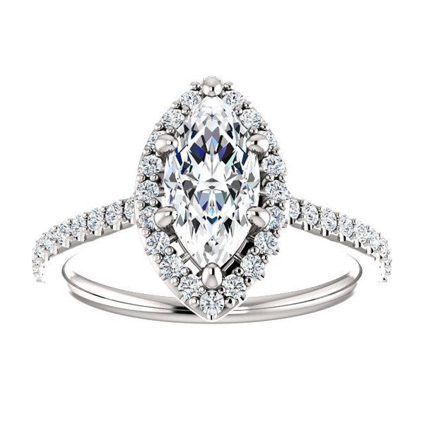 Marquise Halo Engagement Ring | White Gold Diamond Engagement Ring Setting | Diamond Ring Mounting