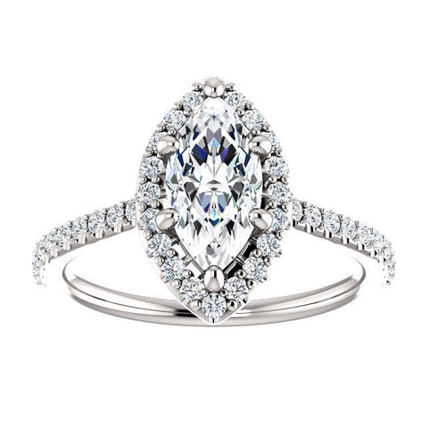 Infinite Marquise Halo Engagement Ring Setting (10x5mm) - Moijey Fine Jewelry and Diamonds