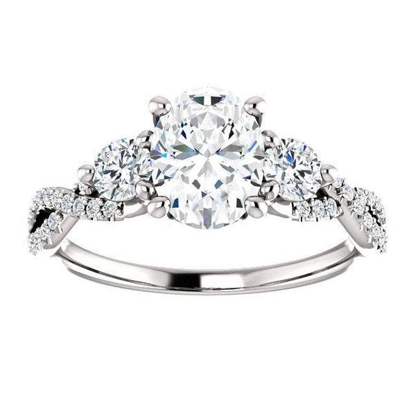 Infinite Three-Stone Oval Engagement Ring Setting - Moijey Fine Jewelry and Diamonds