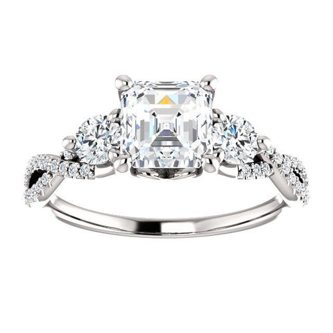 14K White 6x6mm Asscher Engagement Ring Mounting - Moijey Fine Jewelry and Diamonds