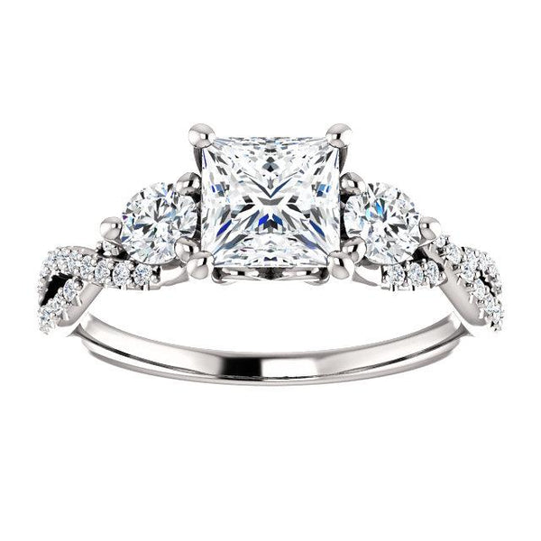 Infinite Princess Three-Stone Engagement Ring Setting (5.5mm) - Moijey Fine Jewelry and Diamonds