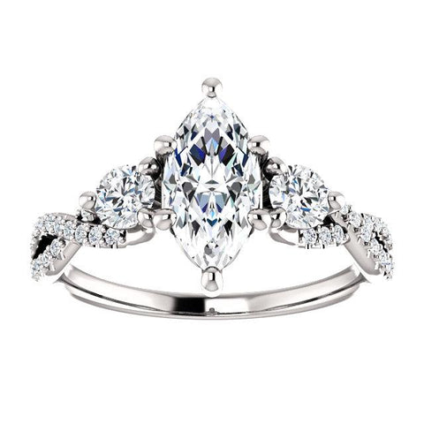 Infinite Three-Stone Marquise Engagement Ring Setting (10x5mm) - Moijey Fine Jewelry and Diamonds