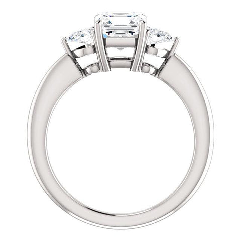 14K White 6mm Asscher Engagement Ring Mounting - Moijey Fine Jewelry and Diamonds