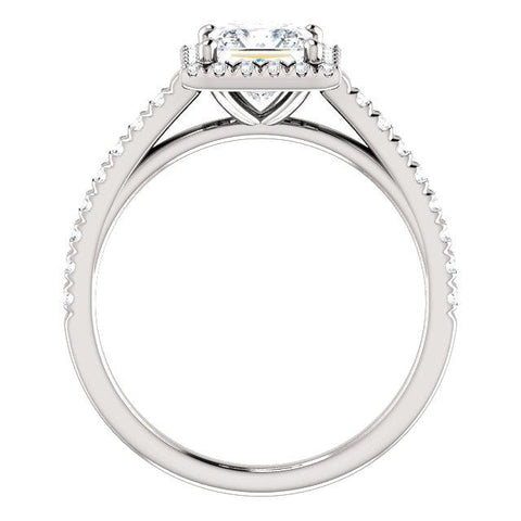 Princess French-Set Halo Engagement Ring Setting (5.5mm) - Moijey Fine Jewelry and Diamonds
