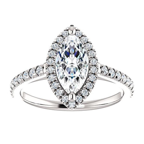 Marquise French-Set Halo Engagement Ring Setting (10x5mm) - Moijey Fine Jewelry and Diamonds