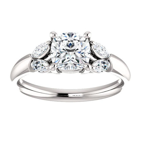 14K White 6mm Cushion Engagement Ring Mounting - Moijey Fine Jewelry and Diamonds