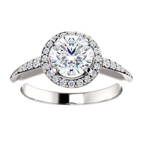 14K White 6.5mm Round Knife Edge Halo-Style Engagement Ring Mounting - Moijey Fine Jewelry and Diamonds