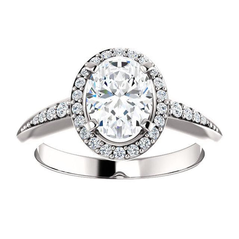 14K White 8x6mm Oval Knife Edge Halo-Style Engagement Ring Mounting - Moijey Fine Jewelry and Diamonds