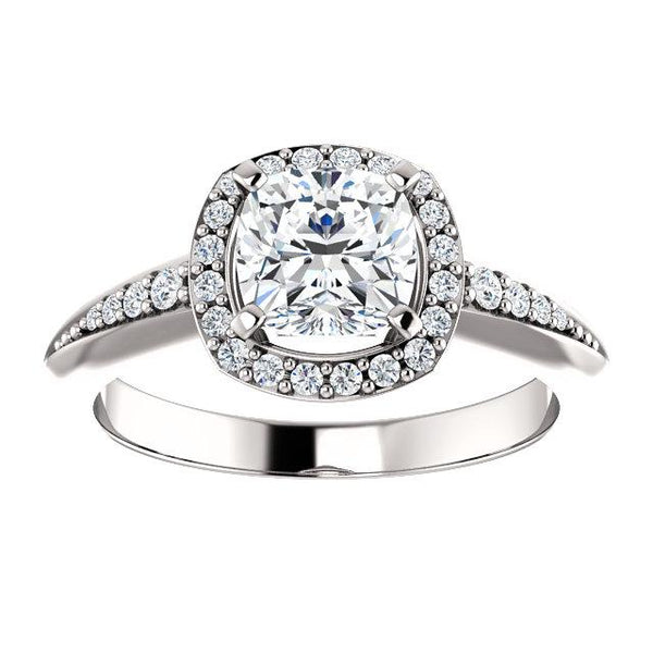 14K White 6x6mm Cushion Knife Edge Halo-Style Engagement Ring Mounting - Moijey Fine Jewelry and Diamonds