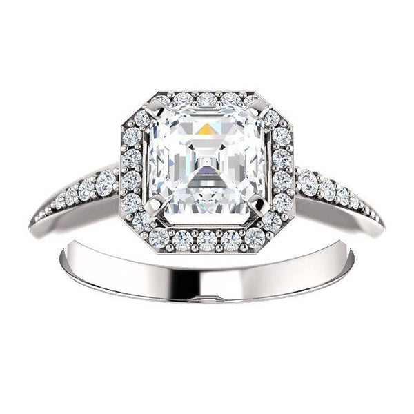 14K White 6x6mm Asscher Knife Edge Halo-Style Engagement Ring Mounting