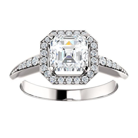 14K White 6x6mm Asscher Knife Edge Halo-Style Engagement Ring Mounting - Moijey Fine Jewelry and Diamonds