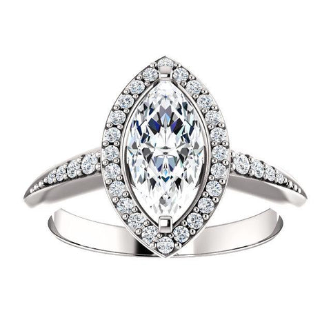 Knife Edge Marquise Engagement Ring | Halo Style Engagement Ring Mounting | White Diamond Ring