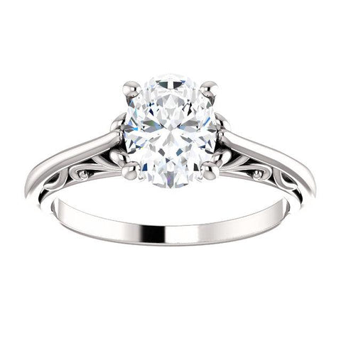 14K White 8x6mm Oval Solitaire Engagement Ring Mounting - Moijey Fine Jewelry and Diamonds