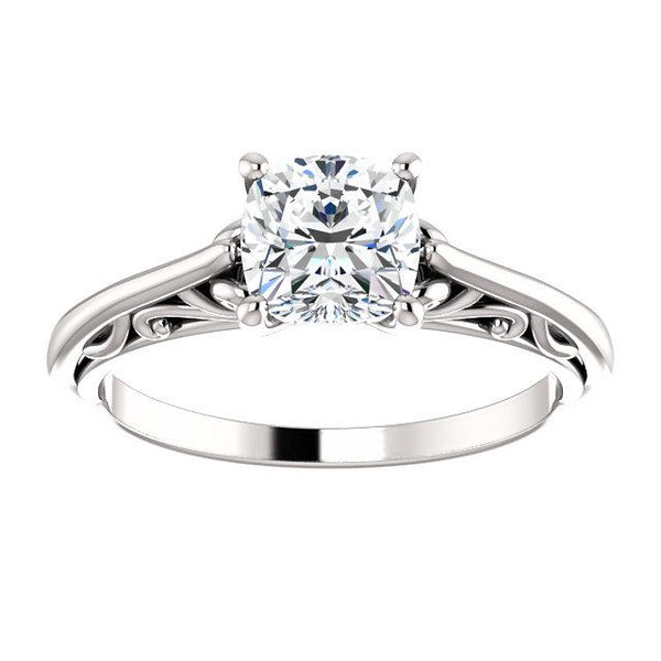 14K White 6x6mm Cushion Solitaire Engagement Ring Mounting - Moijey Fine Jewelry and Diamonds