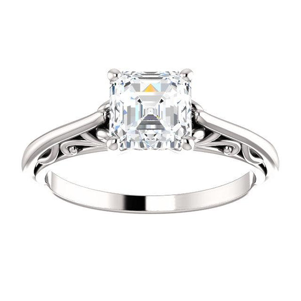 14K White 6x6mm Asscher Solitaire Engagement Ring Mounting