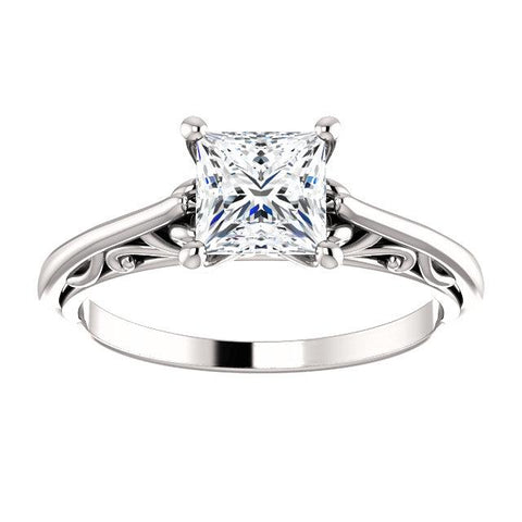 14K White 5.5mm Square Solitaire Engagement Ring Mounting - Moijey Fine Jewelry and Diamonds