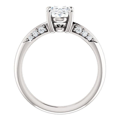 14K White 8x6mm Oval Engagement Ring Mounting - Moijey Fine Jewelry and Diamonds