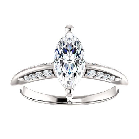 Knife-Edge Marquise Engagement Ring Setting (10x5mm) - Moijey Fine Jewelry and Diamonds