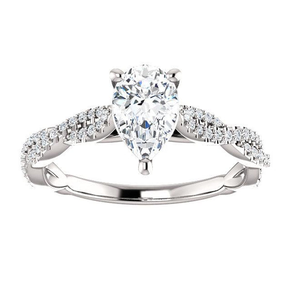 14K White 8x5mm Pear Engagement Ring Mounting - Moijey Fine Jewelry and Diamonds