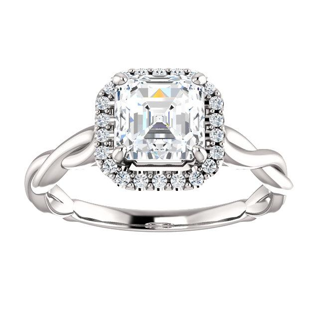 14K White 6mm Asscher Engagement Ring Mounting