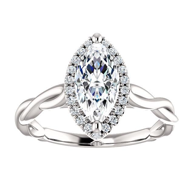 Twisted Halo Marquise Engagement Ring Setting (10x5mm)