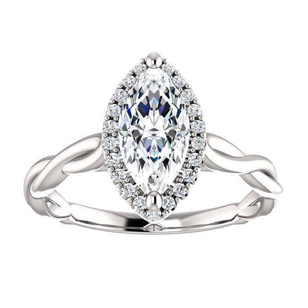 Twisted Halo Marquise Engagement Ring Setting (10x5mm) - Moijey Fine Jewelry and Diamonds