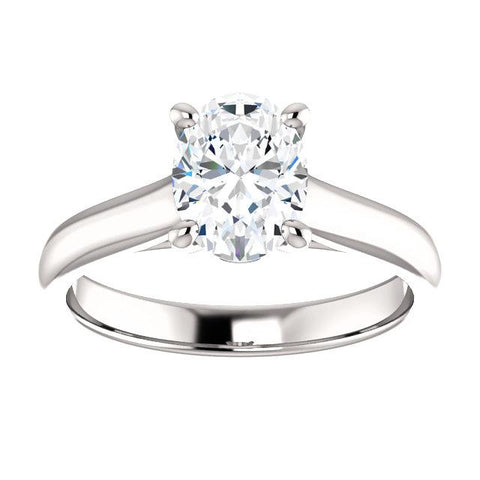 14K White 8x6 mm Oval .04 CTW Diamond Semi-set Engagement Ring - Moijey Fine Jewelry and Diamonds
