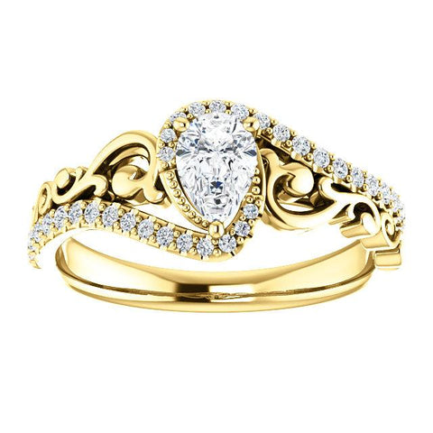 Pear-Shaped Organic Filigree Engagement Ring Setting